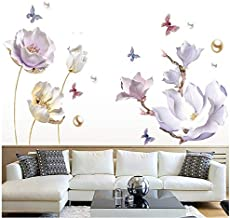 COVPAW® Muursticker Muursticker XXL Tulp Magnolia Paars Parel Bloemen Muurschildering Foto's Woonkamer Slaapkamer Deco