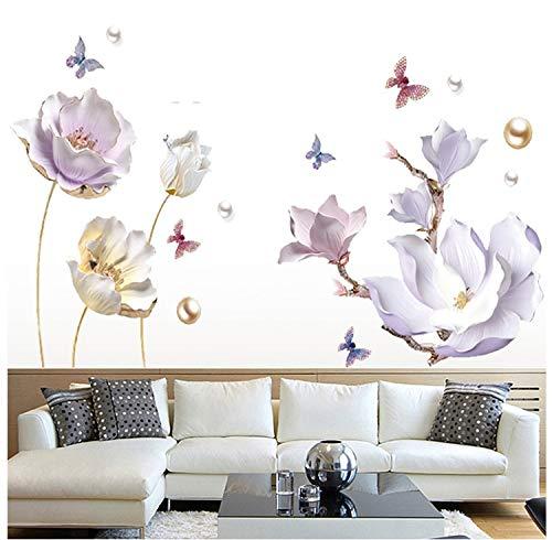 COVPAW® Wandtattoo Wandaufkleber XXL Tulpe Magnolie Lila Perle Blumen Wandsticker Wandbild Bilder Wohnzimmer Schlafzimmer Deco