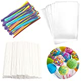 Lollipop Cake Pop Treat Bag Set Including 100pcs Parcel Bags, 100pcs Papery Treat Sticks, 100pcs...