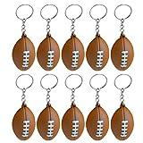 Abaodam Lot de 10 porte-clés de rugby en polyuréthane avec pendentif en forme de ballon de football américain - Marron