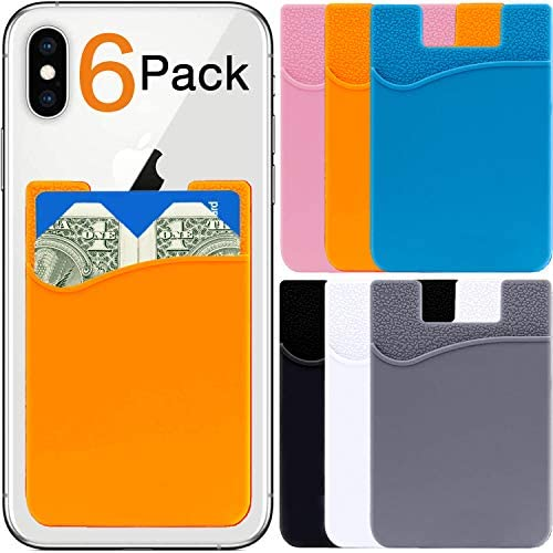 Card Holder for Back of Phone Wallet 6 Pack Stick On Pocket Silicone Rubber Credit Debit ID product image