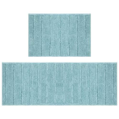 U'Artlines Felpudo de Entrada,Felpudos Originales de Microfibra Alfombrillas de Cocina para Pasillo,Cocina,Dormitorio,Baño 45 * 65+45 * 120cm(Azul Rayado)