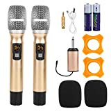 Ausla Micrófono inalámbrico de 2 piezas, micrófono inalámbrico de metal, 2 unidades, sin cables, batería integrada para karaoke, boda, DJ, fiesta, discurso, iglesia, uso escolar