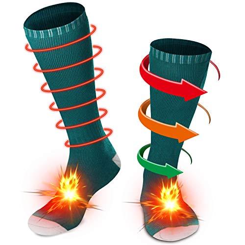 Men Women Novelty Electric Heated Socks Rechargeable Battery Heat Sox Kit,Winter Thermal Heated Socks Heat Insulated Sock for Sports Outdoors,Handmade,3.7V/2200mAh (Green, M)