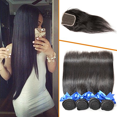 Lovenea TM Best 4 Bundles Cambodian Straight Natural Color Grade 7A Unprecessed Virgin Human Hair With Lace Closures