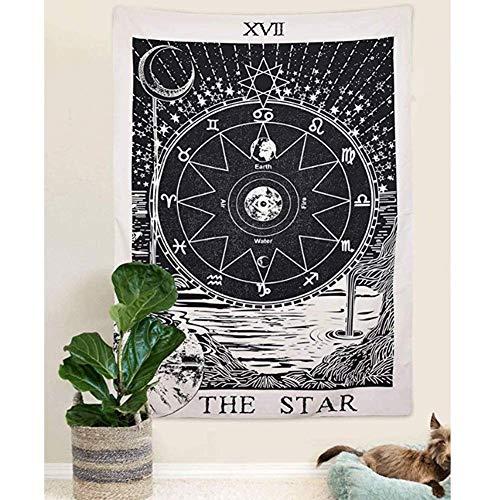 Foairs Tapiz De Tarot De The Moon The Star The Sun Tapiz Medieval De Europa Tapiz para Colgar En La Pared Misterioso Tapiz De Pared para DecoracióN del Hogar The Star Tapestr