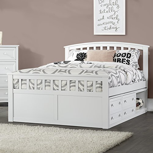 Hillsdale Furniture Hillsdale Charlie Captains Bed with One Storage Unit, Full, White