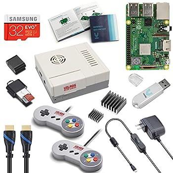 V-Kits Raspberry Pi 3 Model B+  B Plus  Retro Arcade Gaming Kit with 2 Classic USB Gamepads [2018 Model]