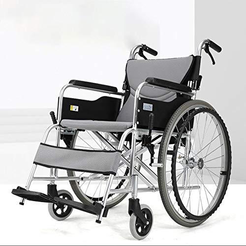 GAOJIN Faltbarer Rollstuhl,Handbuch Transportieren Wheelchair,Leichter Rollator,mit Bequemer Rückenlehne Fußstützen,doppelbremsanlage,Komfort-doppelsitzkissen,geeignet Für ältere Menschen