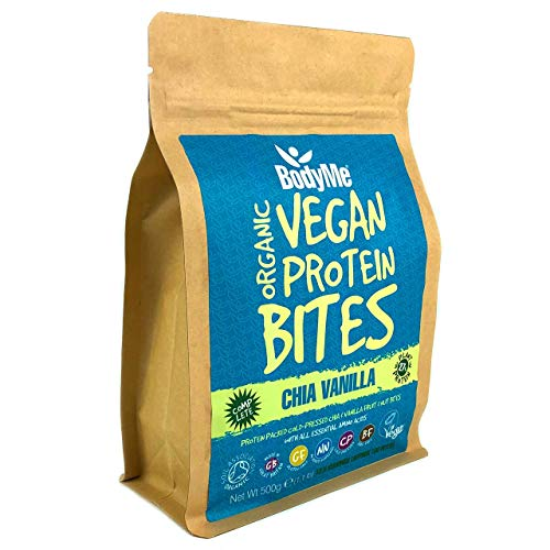 BodyMe Organic Vegan Protein Snacks Bites | Raw Chia Vanilla | 100 Protein Snack Bites | 27 Percent Protein | Gluten Free | 3 Plant Proteins | All Essential Amino Acids | High Protein Vegan Snacks