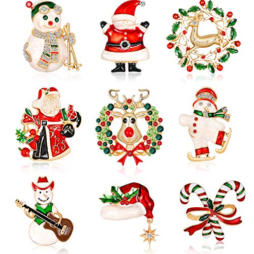 9 Pieces Enamel Christmas Brooch Pins Jewelry for Woman Kids Holiday Xmas Gift Party