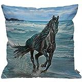 HGOD DESIGNS Kissenbezug Pferd Horse Wunderschön Schwarz Pferde Laufend Ein Der Strand Kissenhülle...