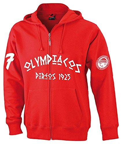 SRS-Textilservice Olympiakos Piräus Hooded Jacke Sweatjacke Hellas Griechenland Greece (XL, Rot)