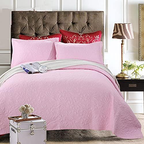 WYHQL Cubrecama Colcha Acolchada Bordado en Relieve Doble único, Colcha de algodón de 3 Piezas para Todas Las Estaciones y 2 Fundas de Almohada (Color : Pink, Size : 230x250cm)