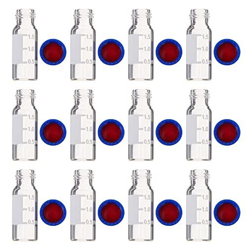 Scicalife 100Pcs 2Ml Autosampler Frascos de Vidro Frascos de Cintilação Em Meio Líquido de Clara Com Graduação E Boné Azul