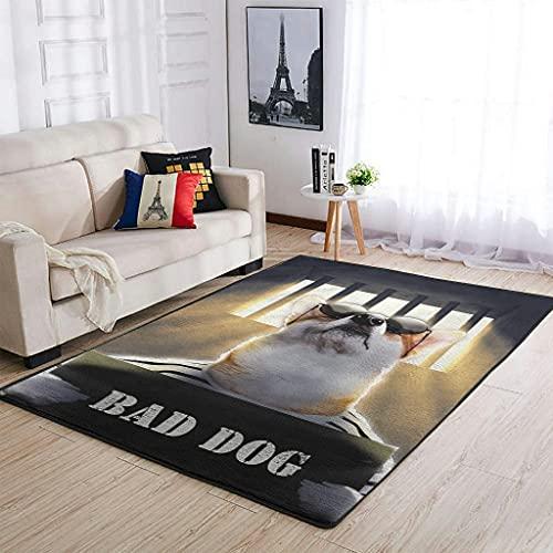 MiKiBi-77 Alfombra Bad Dog Antideslizante - BAD DOG Hermoso felpudo para habitación de estudio. habitación infantil. Jardín de infantes. Dormitorio universitario blanco 50x80cm