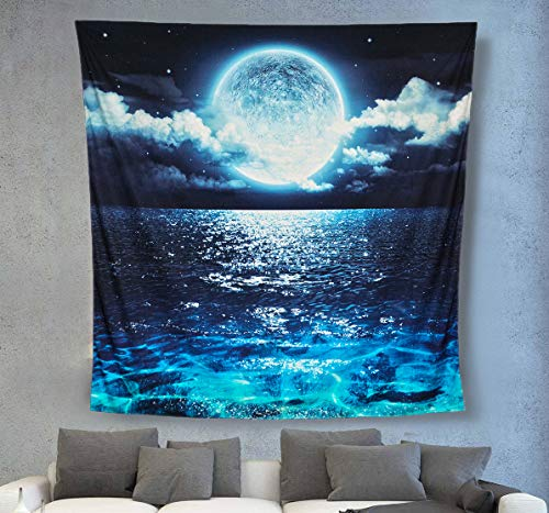 ACRAFT Tapestry Wall Hanging Blue Moon Ocean Starry Vertical Tapestries Teal Turquoise Sea Décor for Living Room Bedroom Behind Chair Beside Bed