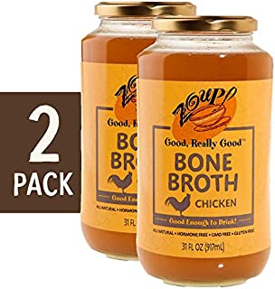 Chicken Bone Broth by Zoup! - All Natural, Gluten Free, Non GMO, Fat Free Chicken Bone Broth - Great for Stock, Bouillon, Soup Base or to Drink, 2-pack of 31 oz Jars