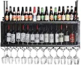 Bedspread Wall Wine Racks Metal Iron Storage Shelf in Bar Household Loft Ceiling Wall Mounted Hanging Wine Champagne Glass Goblets Stemware Rack Wine Bottle Holder (Color : Bronze, Size : 80x30cm)