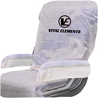 Airplane Seat Covers White (with Armrest and Tray Table Caddy) : Disposable 2 sets