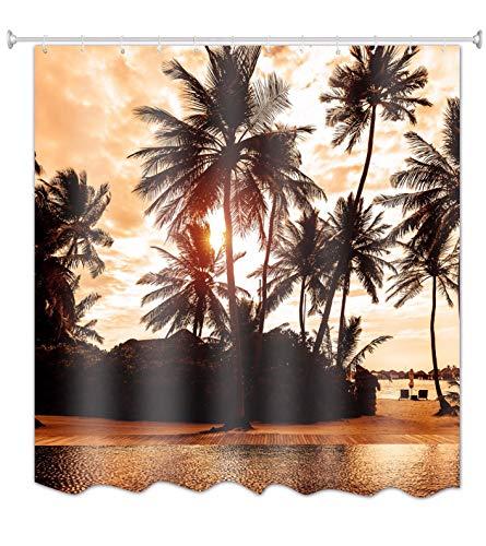 A.Monamour Tropische Insel Palme Seaside Landschaft Bei Sonnenuntergang Zeit Natur Grafik Druck Stoff Polyester Wasserdicht/Wasserabweisend Duschvorhang Für Bad Zubehör 180X200 cm / 72