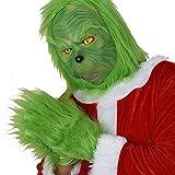 Lumemery Grinch Costume Natale Halloween Cosplay Adulto Bambini Guanti pelosi verdi Maschera in lattice Abito da Babbo Natale