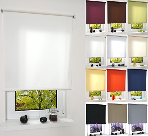 Garduna Pull Tageslicht-Rollo # Weiss 102cm # viele Farben & Größen - Sichtschutz - lichtdurchlässig - Mittelzugrollo Springrollo Schnapprollo