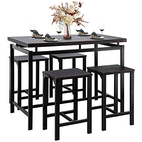 DSDNOO 5 Pcs Dining Table Set, Counter Height Dining Table Set for 4, Wooden Bar Height Dining Table & Bar Stools, Bar Table and Chairs Set, Kitchen Dining Table Set for Pub/Dining Room