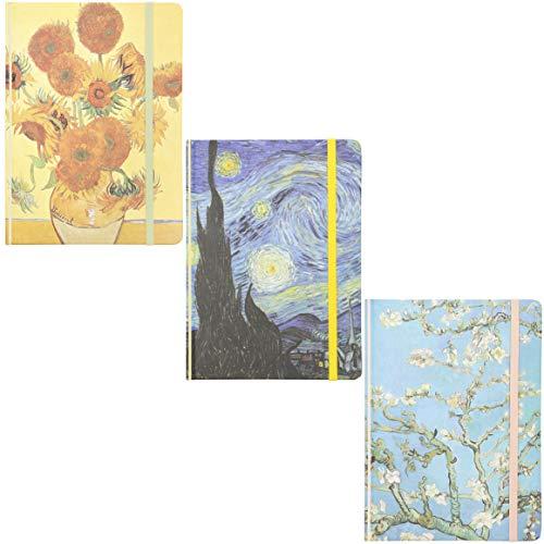 Taccuini con copertina rigida, motivo: Van Gogh, confezione da 3