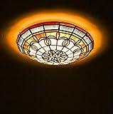 Plafoniera a LED in Vetro colorato Stile Tiffany per Camera da Letto Plafoniere a soffitto in Stile Pastorale Semplice da Incasso per Soggiorno Illuminazione Portico, Chip LED, Luce Calda, 30 cm