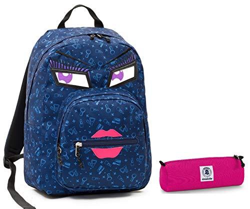 invicta Zaino Ollie Pack Face + Portapenne - Blu Kiss - Tasca Porta pc Padded - Scuola e Tempo Libero Americano 25 LT - Idea Regalo Natale