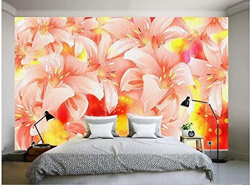 Fototapete 3D Effekt Wand Dekoration Vlies 350X245Cm Tapete Moderne Wanddeko Wandbilder Flower Dazzle Farbe Flammenlilie