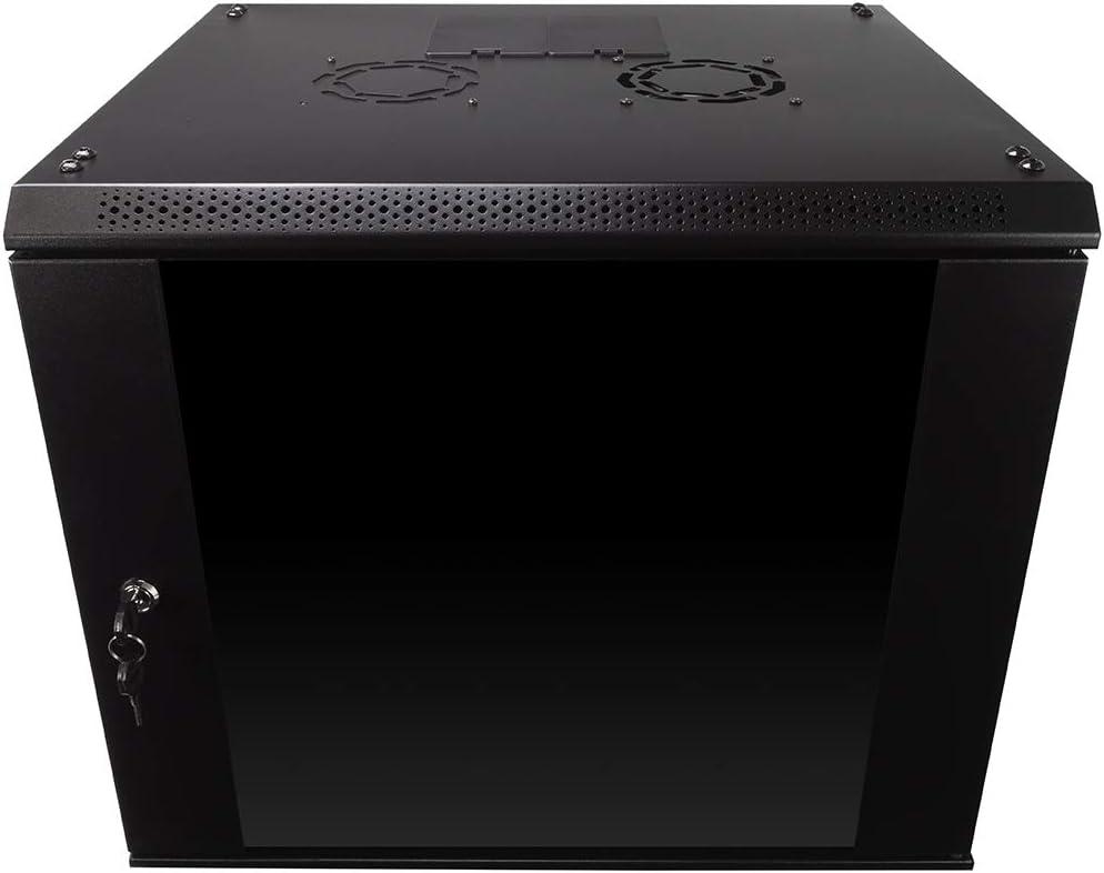 NavePoint 9U Wall Mount Consumer Series Server Cabinet Network Enclosure Locks,W Fan
