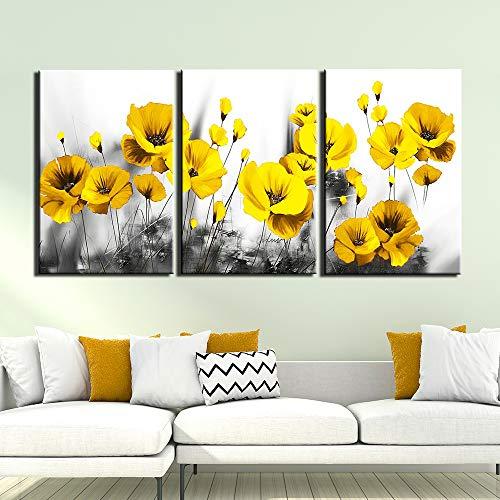 yiyitop Rahmenlose 3 Panel schwarz und weiß Hintergrund gelbe Blume Bild leinwand malerei Poster drucken wandkunst Bild für Wohnzimmer Dekoration