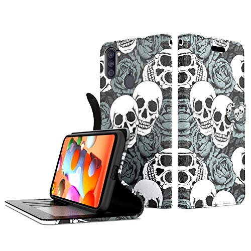 Shinewish Wallet Cell Phone Case for Samsung Galaxy A11, Skull PU Leather Flip Phone Cover Hybrid with Kickstand and Hand Strap Loop, Shockproof Bumper Case