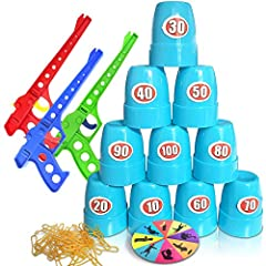 FUN TARGET PRACTICE: A shooting game for kids with a super fun twist! This target practice set comes with 3 toy gun rubber launchers, 100 rubber bands, a game turntable, 10 cups, and score stickers for the cups. Perfect for 1-3 players, it's a recipe...