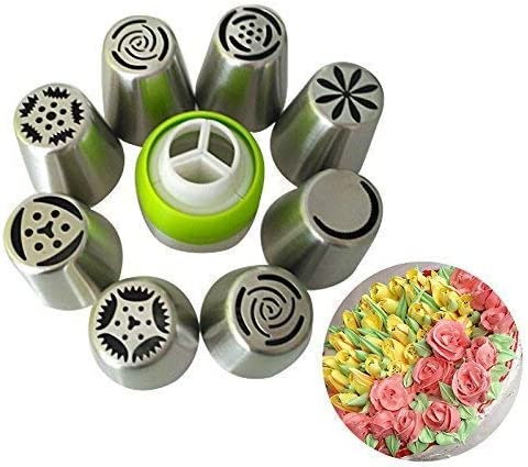 Zollyss 8 pc Stainless Steel Russian Icing Nozzles with 1 Coupler for Decorating Cupcake Pastries Desserts (Set of 10)
