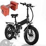 Bicicleta Eléctrica Plegable 20 Pulgadas, E-Bike Doble Absorción de Impactos, Batería de Litio 48V 15Ah, Bicicleta Eléctrica para Adultos 750W, Shimano 7 Velocidades, 50KM/h,+ Bag