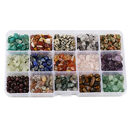15 diferentes tipos de piedras preciosas chip de cristal cuarzo piedra irregular forma suelta cuentas trituradas piezas de cristal para hacer pulseras y collares
