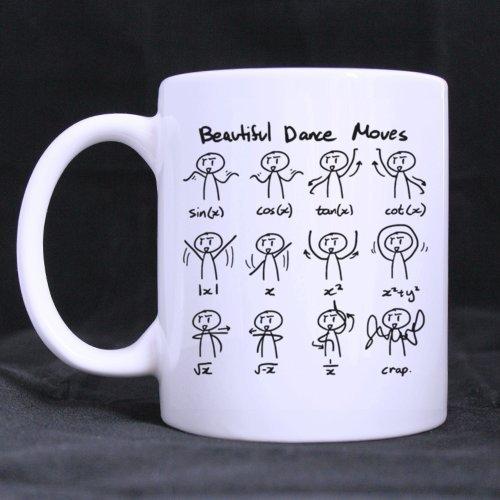 "White Coffee Mug - Funny Cute Math Mathematic Expressions ""Beautiful Dancing Moves"" 11OZ/100% Ceramic Custom Coffee/Tea Mug Simple Gift Choice For Christmas / New Year / Birthday ..."
