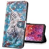 MRSTER Moto E4 Plus Handytasche, Leder Schutzhülle Brieftasche Hülle Flip Hülle 3D Muster Cover mit Kartenfach Magnet Tasche Handyhüllen für Motorola Moto E4 Plus. BX 3D - White Tiger