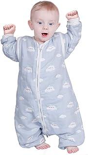 Lictin, Lictin Saco de Dormir para bebés con Mangas extraíbles para bebés Niños de 3-4.5 años de 85 a 105 cm 2.0 TOG Motivo de Cielo Azul y Nubes Blancas 100% al algodón orgánico (3-4.5 años)