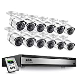 ZOSI H.265+ 1080p 16 Channel Security Camera System,16 Channel DVR with Hard Drive 4TB and 12 x 1080p(2MP) CCTV Bullet Camera Outdoor/Indoor with 100ft Long Night Vision and 105°Wide Angle