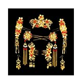 Chinese Ancient Bridal Hair Ornaments Wedding Hair Styling Earrings Sets Accessories Hairpin, 13