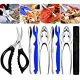 Crab Leg Crackers and Tools - 7 Piece Seafood Tools Upgrade Stainless Steel
