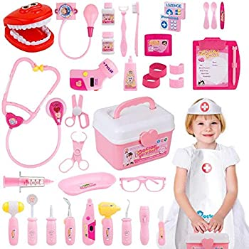 Gifts2U Toy Doctor Kit 37 Piece Kids Pretend Play Toys Dentist Medical Role Play Educational Toy Doctor Playset for Girls Ages 3-6