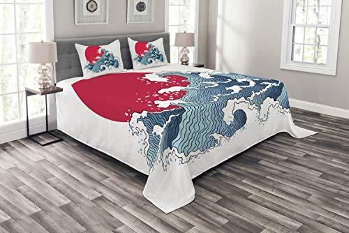 ABAKUHAUS japanisch Tagesdecke Set, Wave-Illustration, Set mit Kissenbezügen Waschbar, für Doppelbetten 220 x 220 cm, Weiß Rot
