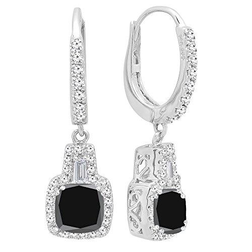 DazzlingRock Collection 14K de oro de 5 MM cada una de las piedras preciosas de los cojines y aretes cónicos y redondos de las mujer de diamantes Negro Zafiro