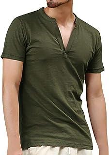 Camisa De Manga De Camiseta Corta Color Liso Para Tamaños Cómodos Hombres Camisas De Lino Vintage Para Hombres Blusa Con B...