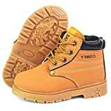 LAFEGEN Toddler Boys Girls Hiking Boots Waterproof Synthetic Leather Non Slip Lace Up Baby Kids Outdoor Work Martin Ankle Snow Boots(Toddler/Little Kid) 6 Toddler, 01 Yellow